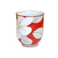 Kuchinashi (Red) Japanese green tea cup