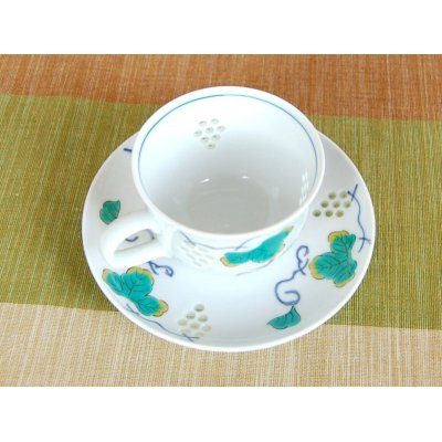 Photo3: Suisho budou grape (Blue) Cup and saucer