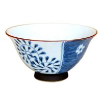 Ume dami karakusa (Blue) rice bowl