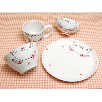 [Made in Japan] <Child tableware>Niko Niko club rabbit half set (4 pieces)