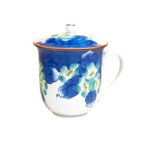Hana tsudoi with cover (Blue) mug