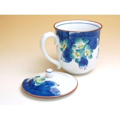 Photo2: Hana tsudoi with cover (Blue) mug