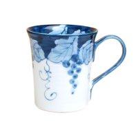 Fuchi dami budou grape (Blue) mug