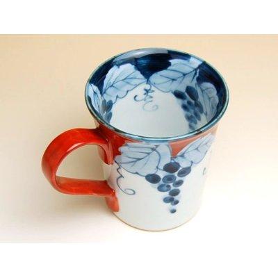 Photo2: Fuchi dami budou grape (Red) mug