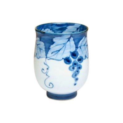 [Made in Japan] Fuchi dami budou grape (Blue) Japanese green tea cup