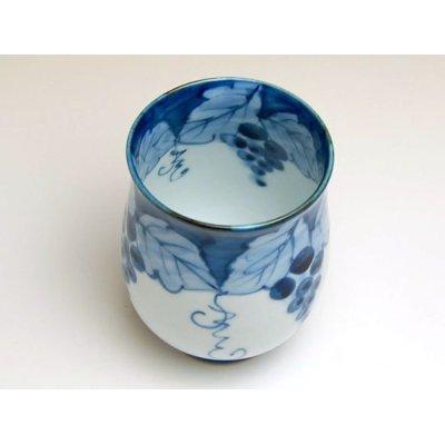 Photo2: Fuchi dami budou grape (Blue) Japanese green tea cup