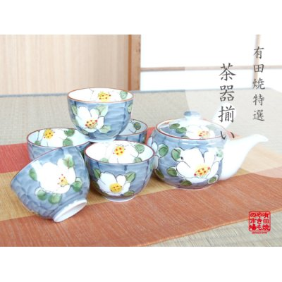 [Made in Japan] Dami shirohana Tea set (5 cups & 1 pot)