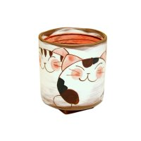 Nakayoshi neko cats (Red) Japanese green tea cup