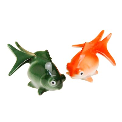 [Made in Japan] Hime demekin goldfish (Green & Red) Ornament doll